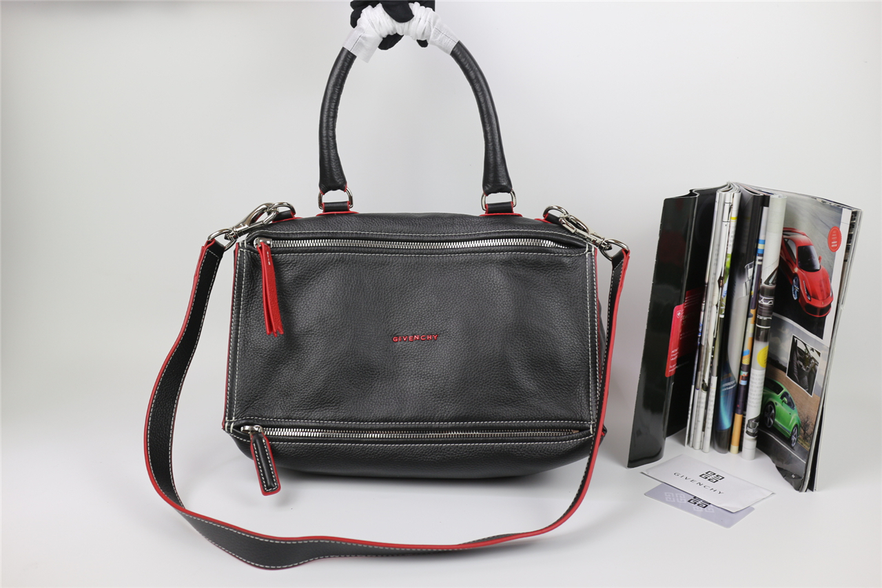 697783469176 Replica Givenchy Large Pandora Tote in Black Lambskin with Red Piping
