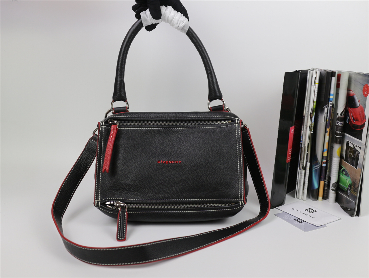 4c546ce4ba4e Replica Givenchy Medium Pandora Bag in Black Lambskin with Red Piping
