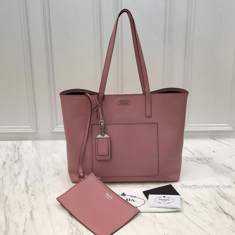 7679d279af36 Copy Prada Shopping Shoulder Bag in Rose Pink Soft Calf Leather