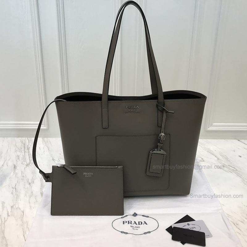 Copy Prada Shopping Shoulder Bag in Khaki Soft Calf Leather 3d365e38922e5
