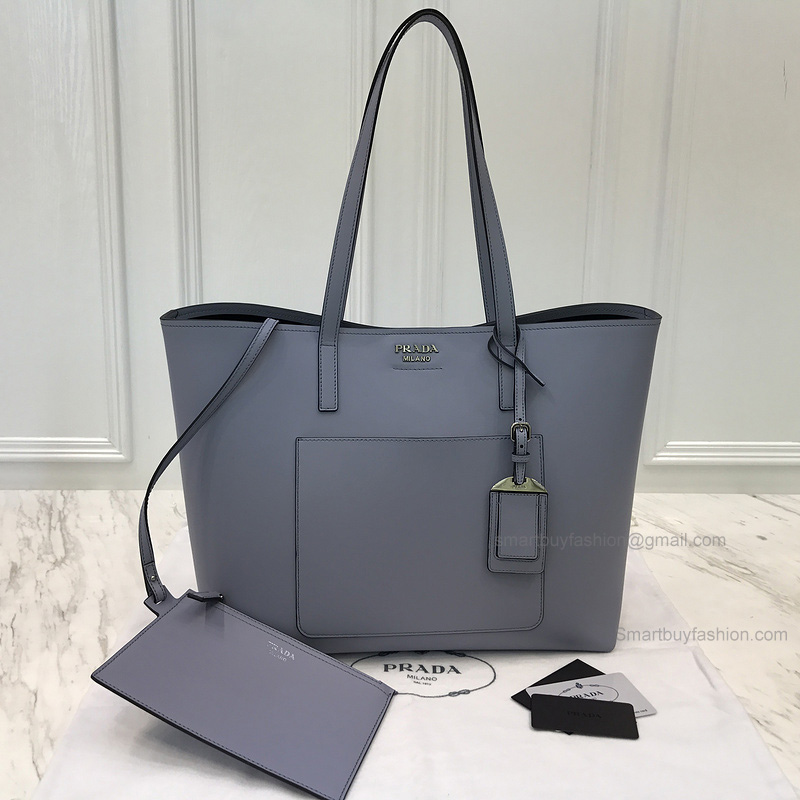 b593b5c0ad4f Copy Prada Shopping Shoulder Bag in Blue Soft Calf Leather -