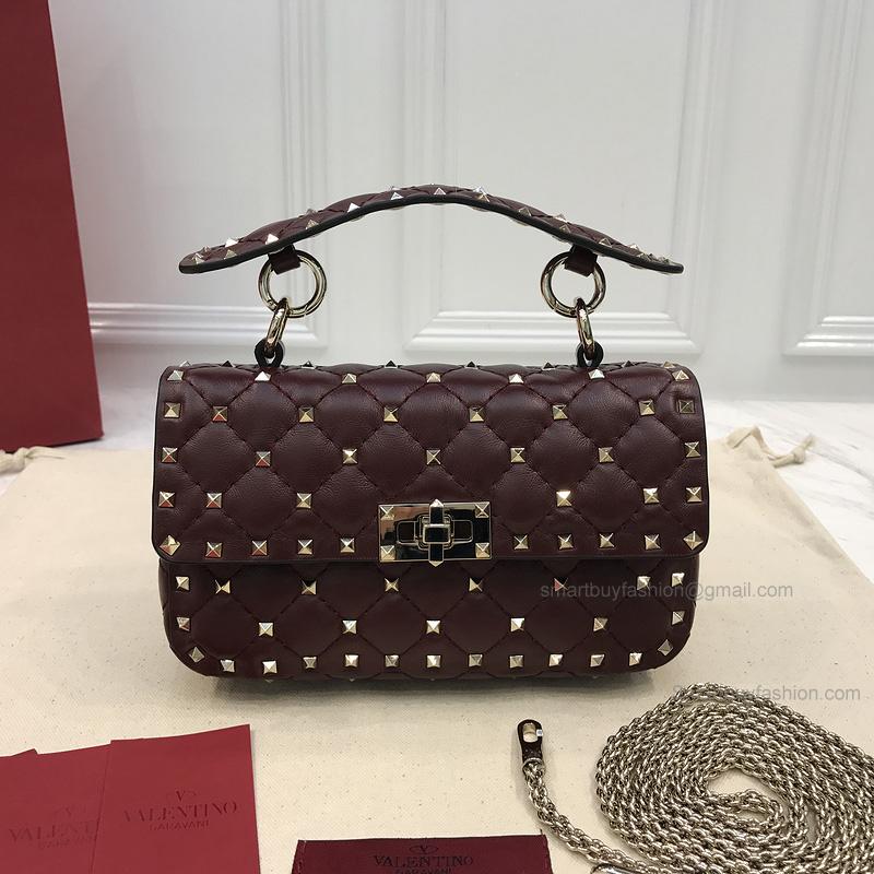 Copy Valentino Garavani Rockstud Spike Burgundy Lambskin Mini Chain Bag