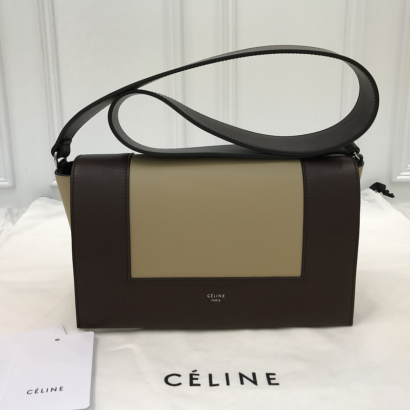 Replica Celine Frame Shoulder Bag in Burgundy and Light Camel Calfskin - 43b319e589c16