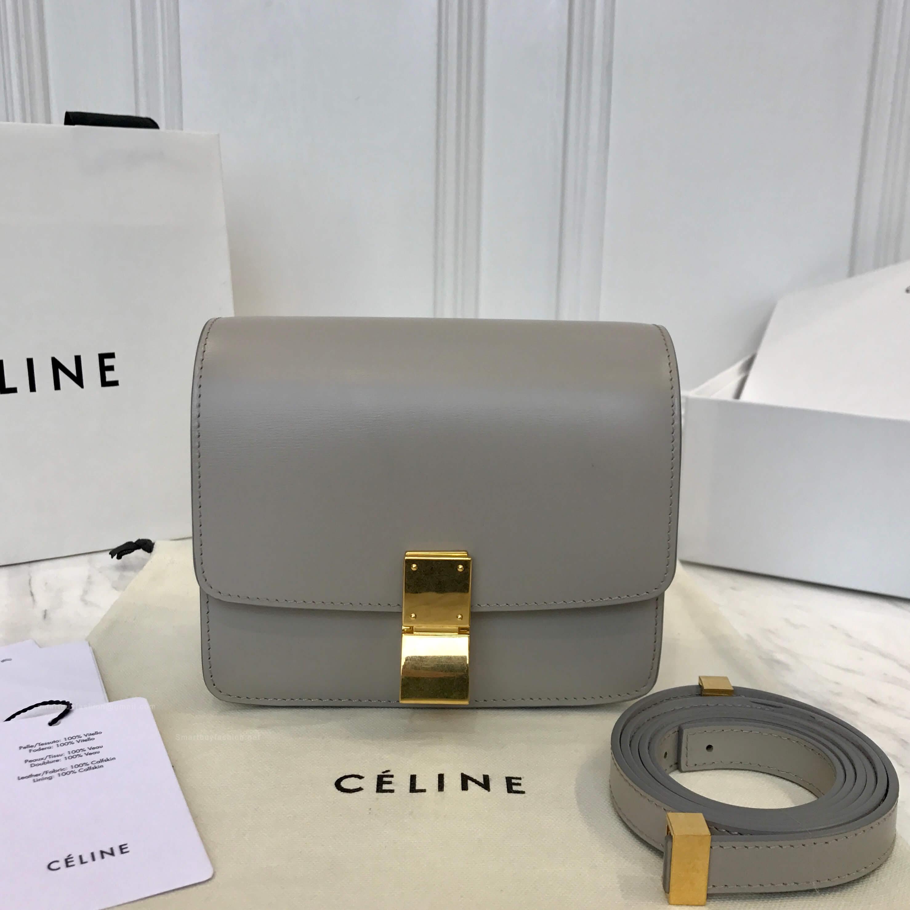 52ef7f2234c2 Celine Classic Box Bag Small in Grey Liege Calfskin