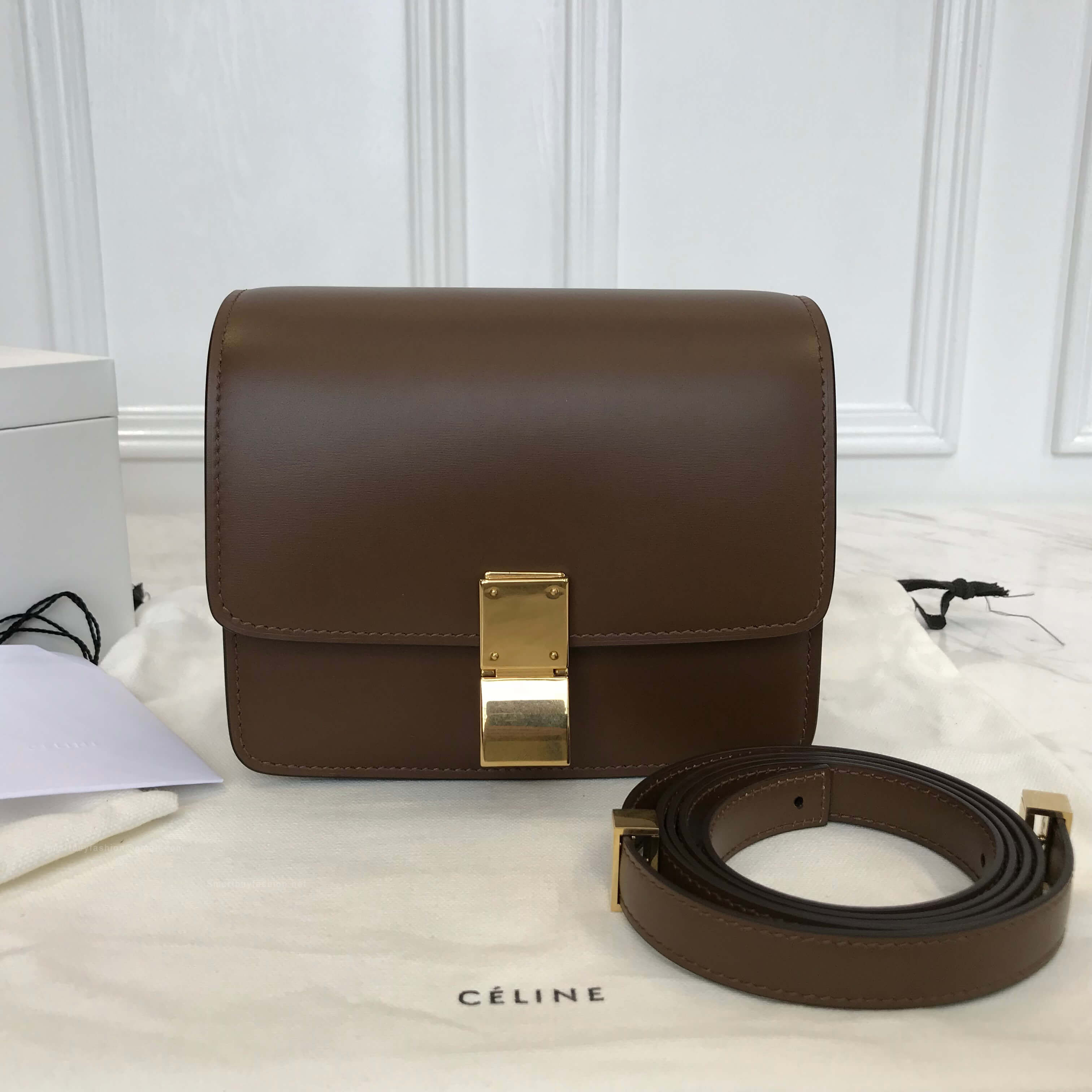 bc9e38f9f7d7 Celine Classic Box Bag Small in Brown Liege Calfskin