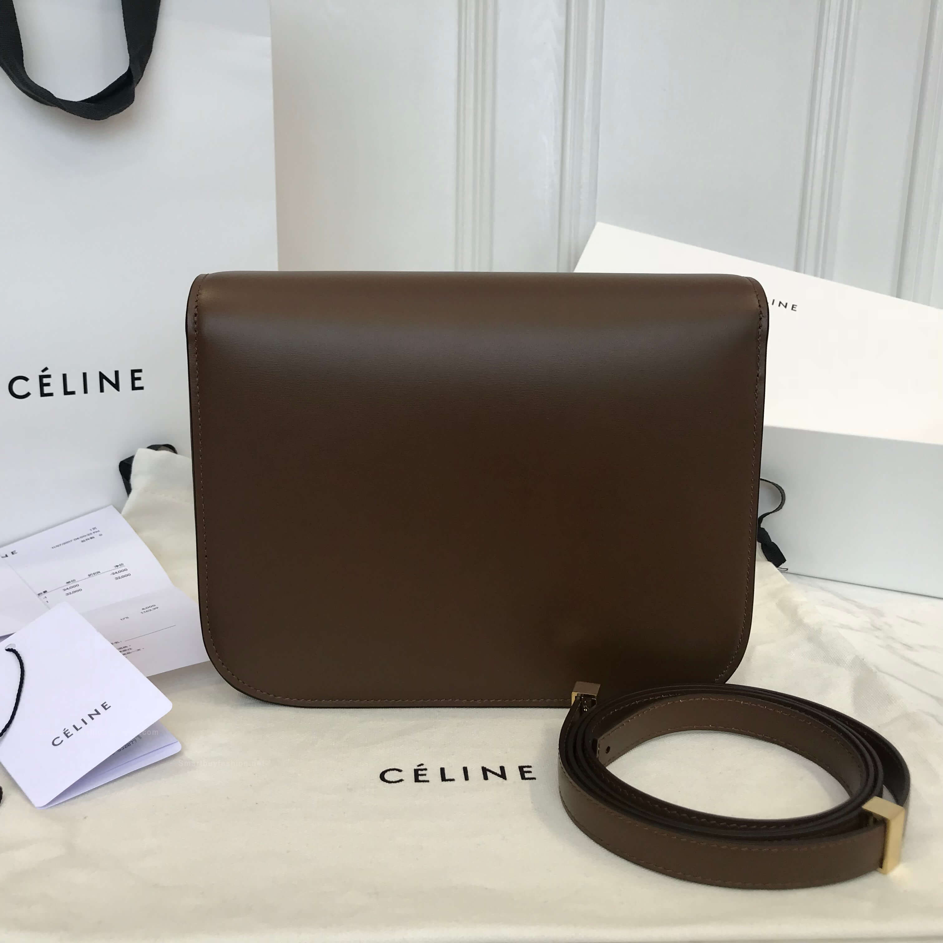 63c779fa77bd ... Celine Classic Box Bag Medium in Khaki Liege Calfskin factory authentic  2516a cbbd3 ...