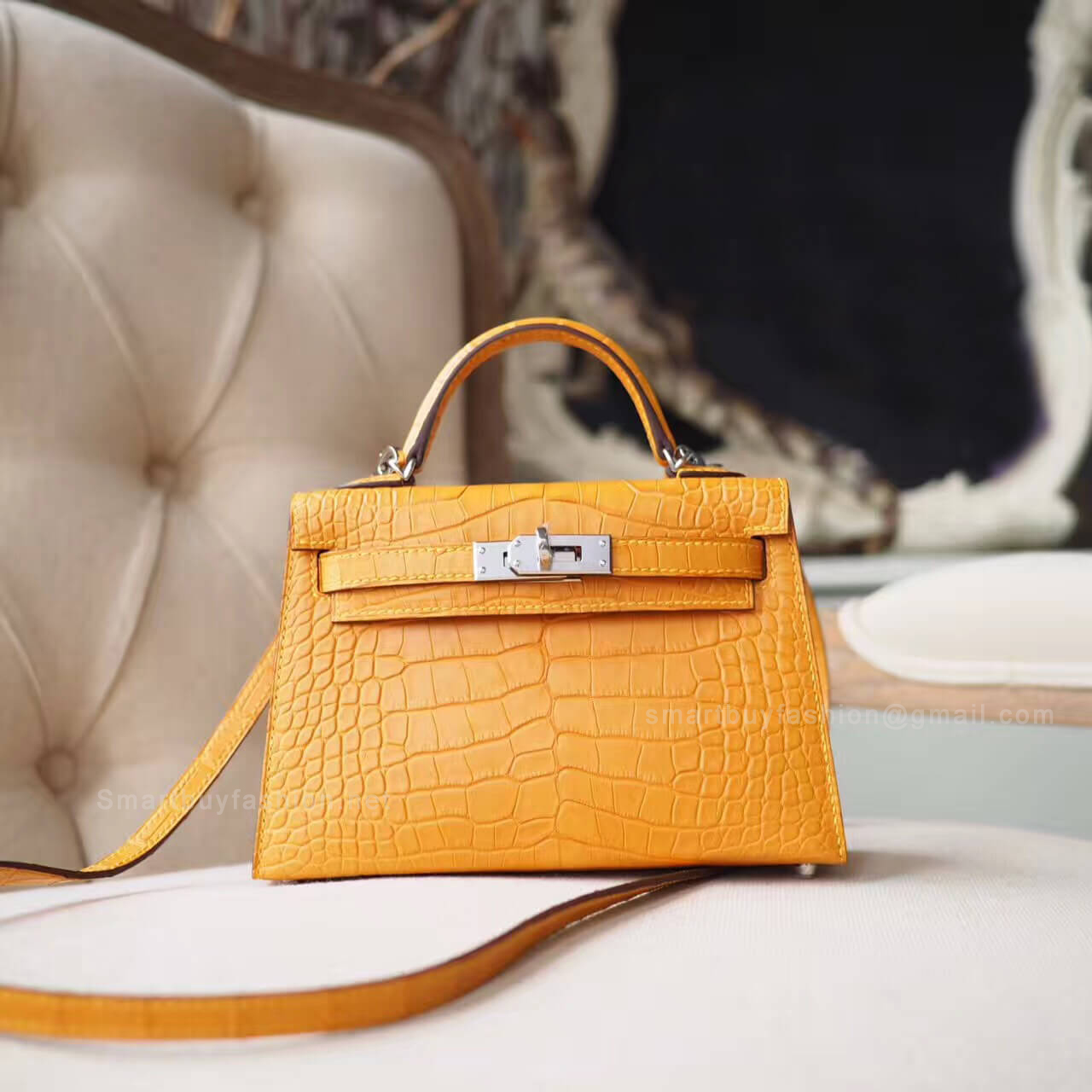 e827e2e836 Hermes Mini Kelly II Bag in 1a Mais Matte Alligator PHW