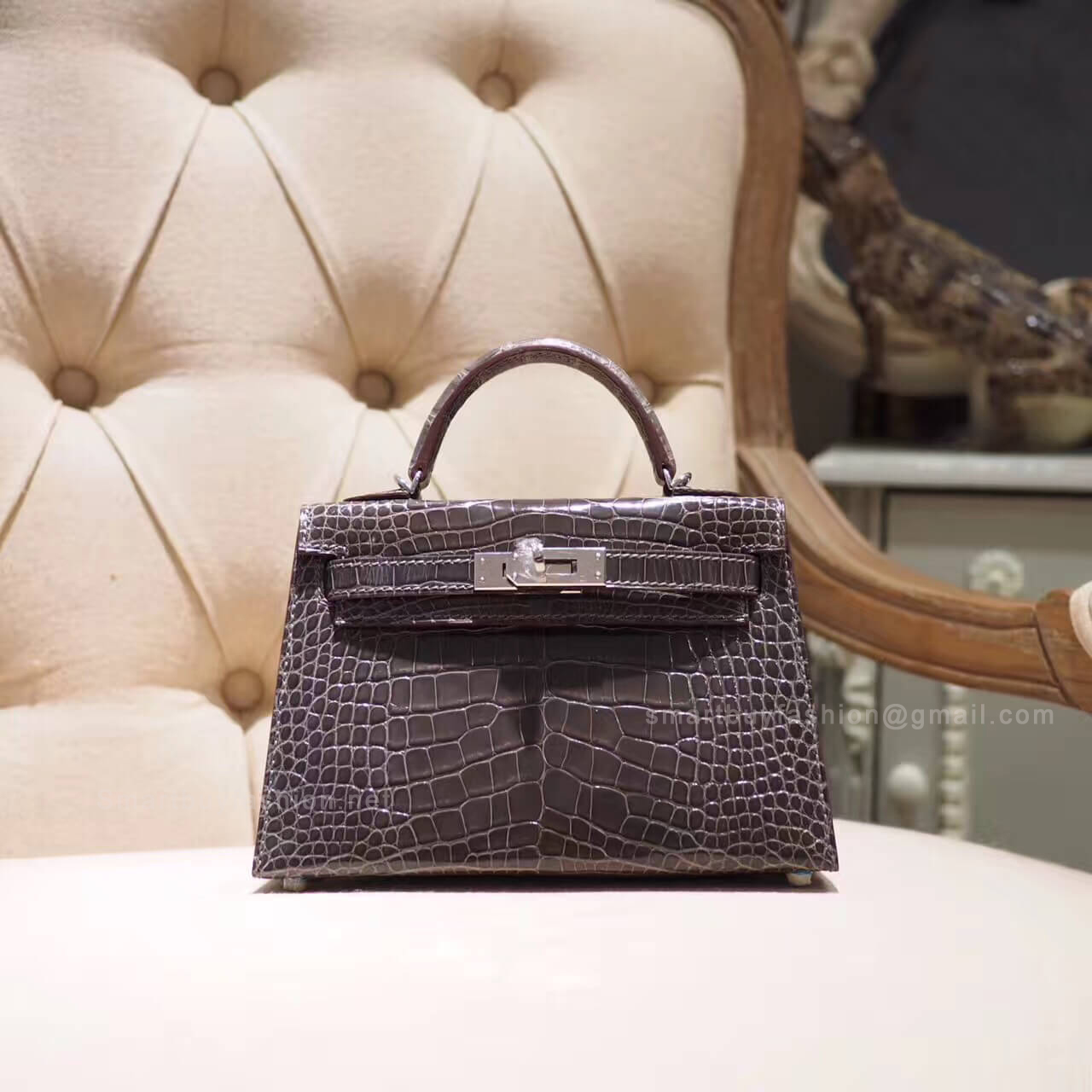 972f53473e Hermes Mini Kelly II Bag in ck88 Graphite Shiny Alligator PHW