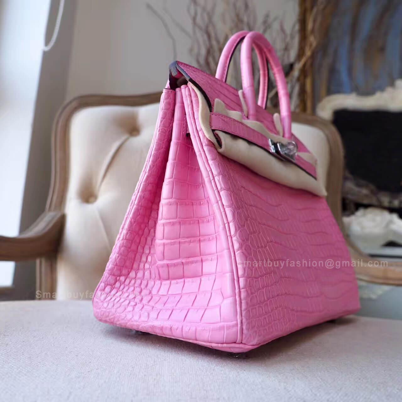 8b664264fb8d Hermes Birkin 25 Bag in 5p Pink Matte Porosus Croc PHW - Hermes Replica