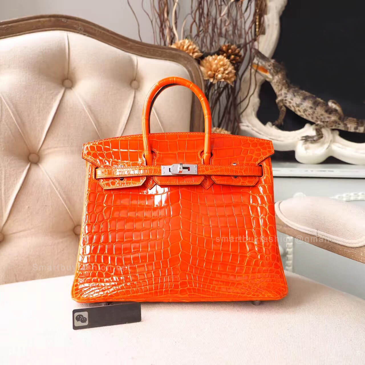 dd98e28b22 Hermes Birkin 25 Bag in cc93 Orange Shiny Nile Croc PHW - Hermes Replica