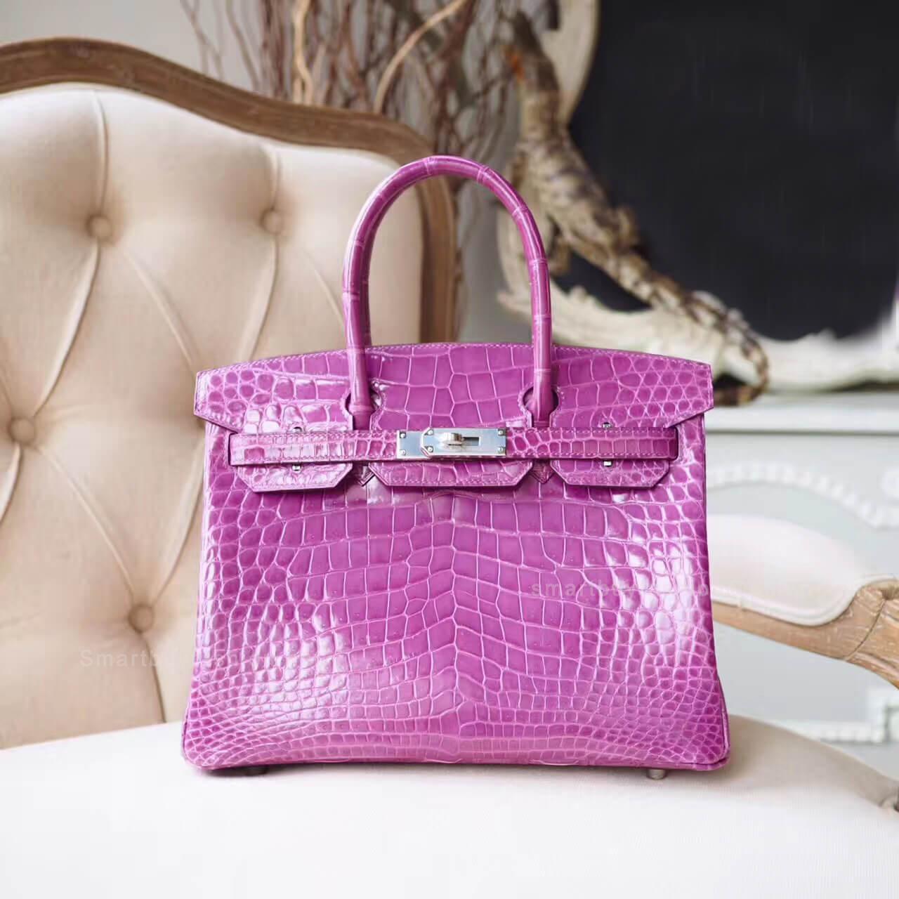 60766715a499 Hermes Birkin 30 Bag in Violet Shiny Porosus Croc PHW