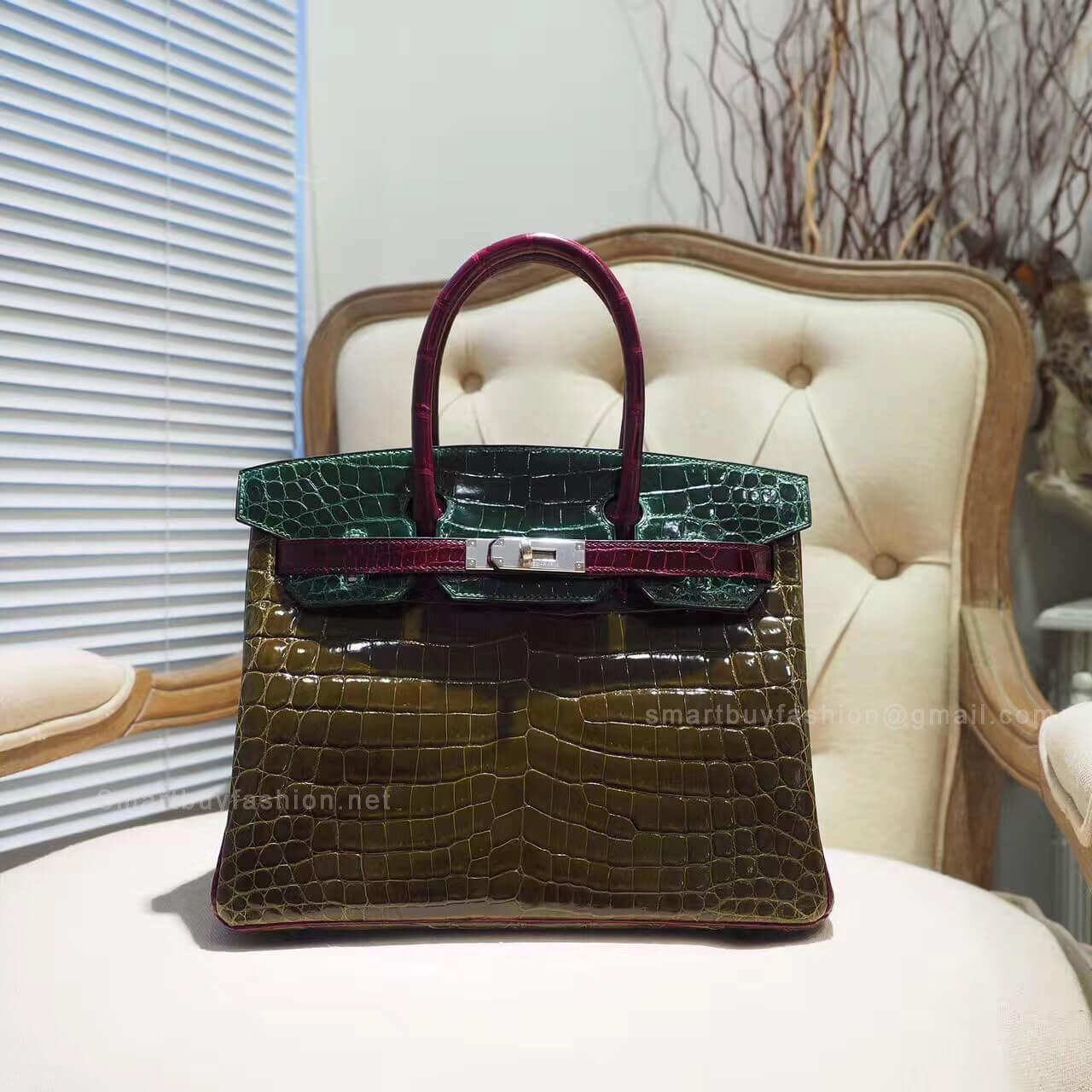 c4ddae1b6e58 Hermes Birkin 30 Bag in Tricolored Vert Fonce Shiny Nile Croc PHW