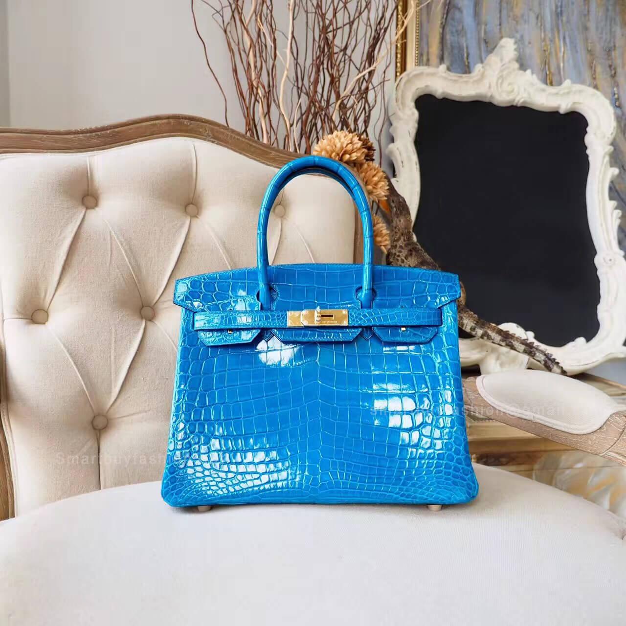 fb248fd3ca Hermes Birkin 30 Bag in 7w Blue Izmir Shiny Nile Croc GHW