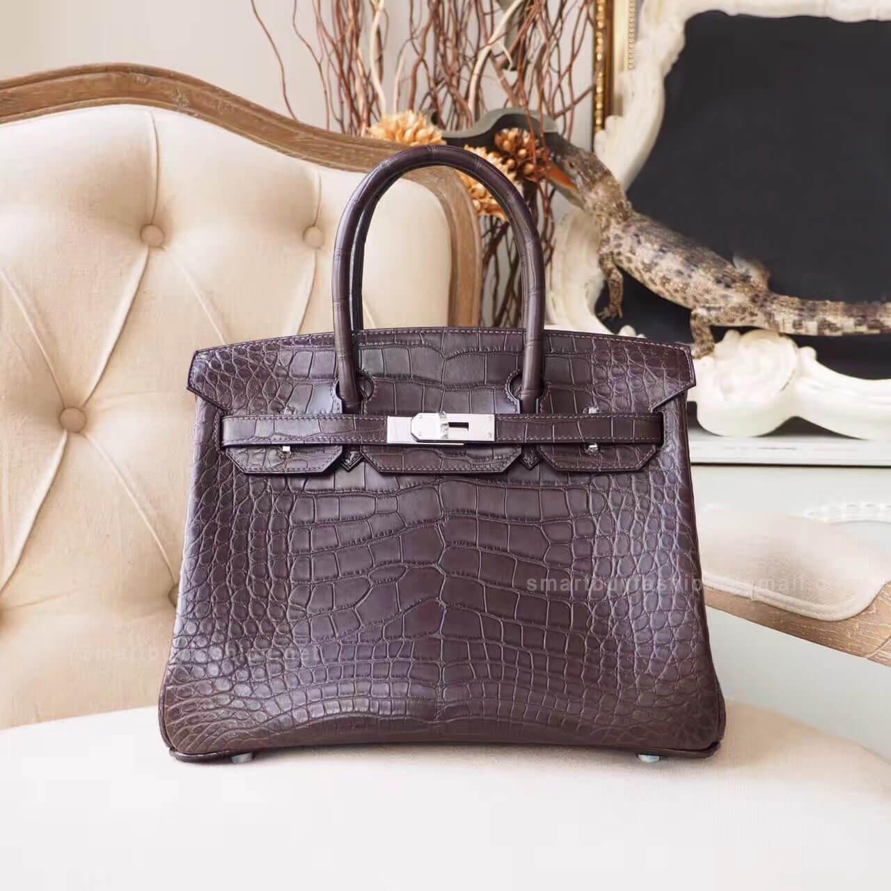 47bef6ccbf0f Hermes Birkin 30 Bag in ck47 Chocolate Matte Nile Croc PHW - Hermes ...