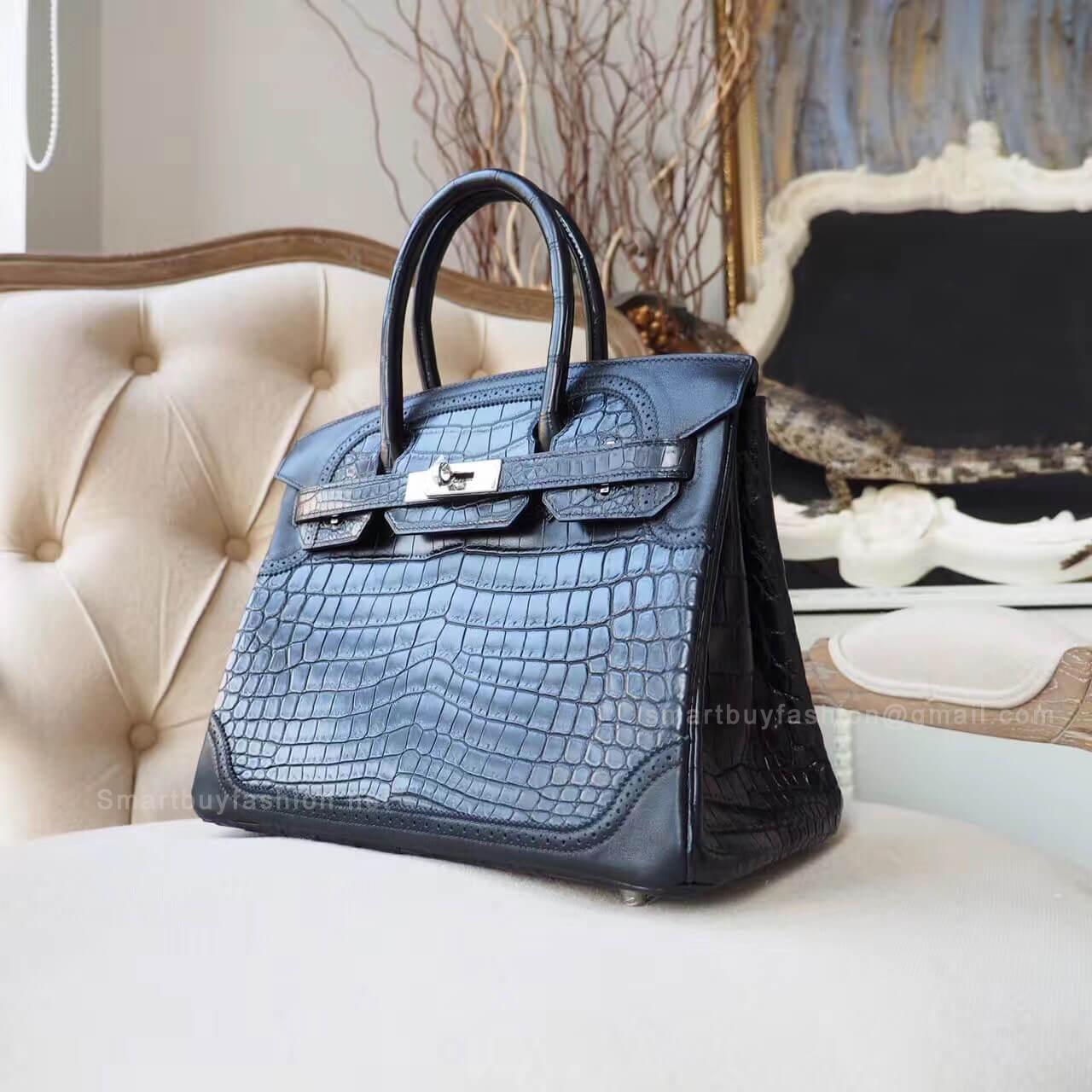852ed2640605 Hermes Birkin 30 Bag Ghillies in ck89 Matte Nile Croc PHW