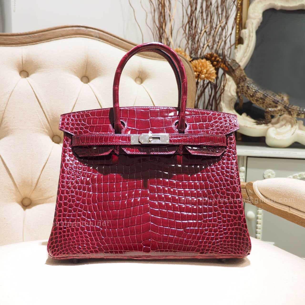 27334de66318 Hermes Birkin 30 Bag in Bourgogne Shiny Porosus Croc PHW