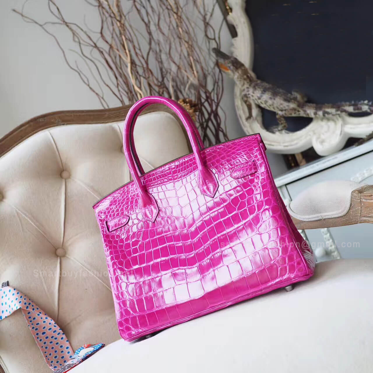 ff5dda819d1 Hermes Birkin 30 Bag in Rose Scheherazade Shiny Nile Croc PHW - Hermes  Replica