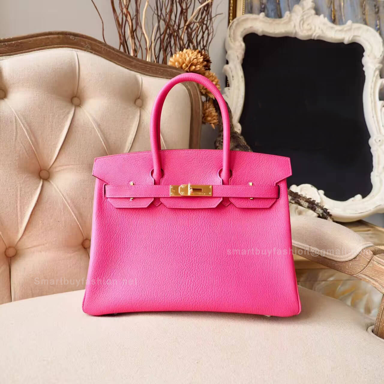Hermes Birkin 30 Handbag in Bicolored 5r Rose Shocking Chevre Myzore GHW