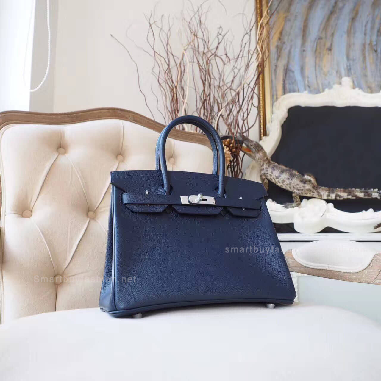 59364884794 Hermes Birkin 30 Handbag in ck76 Blue Indigo Epsom PHW