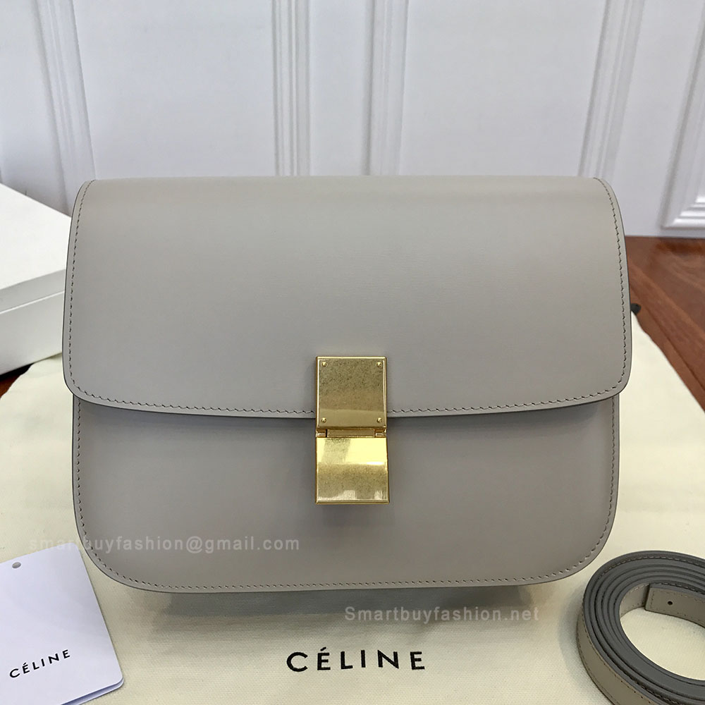 66cc08dd59d5 Celine Medium Classic Bag in Light Grey Box Calfskin