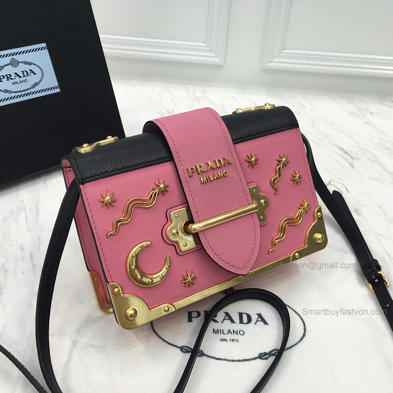 7216dfd668ea Prada Small Velvet Astrology Cahier Bag in Pink and Black Calf Leather -