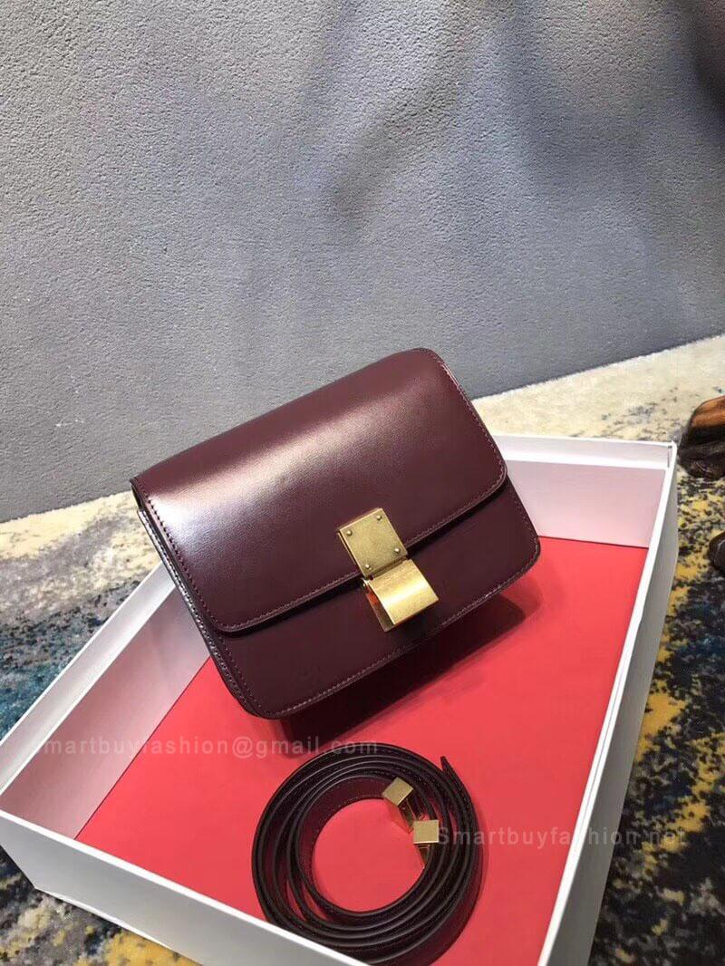 ffca1c99da Celine Classic Box Bag Small in Burgundy Liege Calfskin