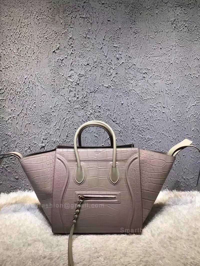 3ab6f462c7b2a Celine Luggage Phantom Bag Medium in Light Taupe Croc Embossed Leather ...