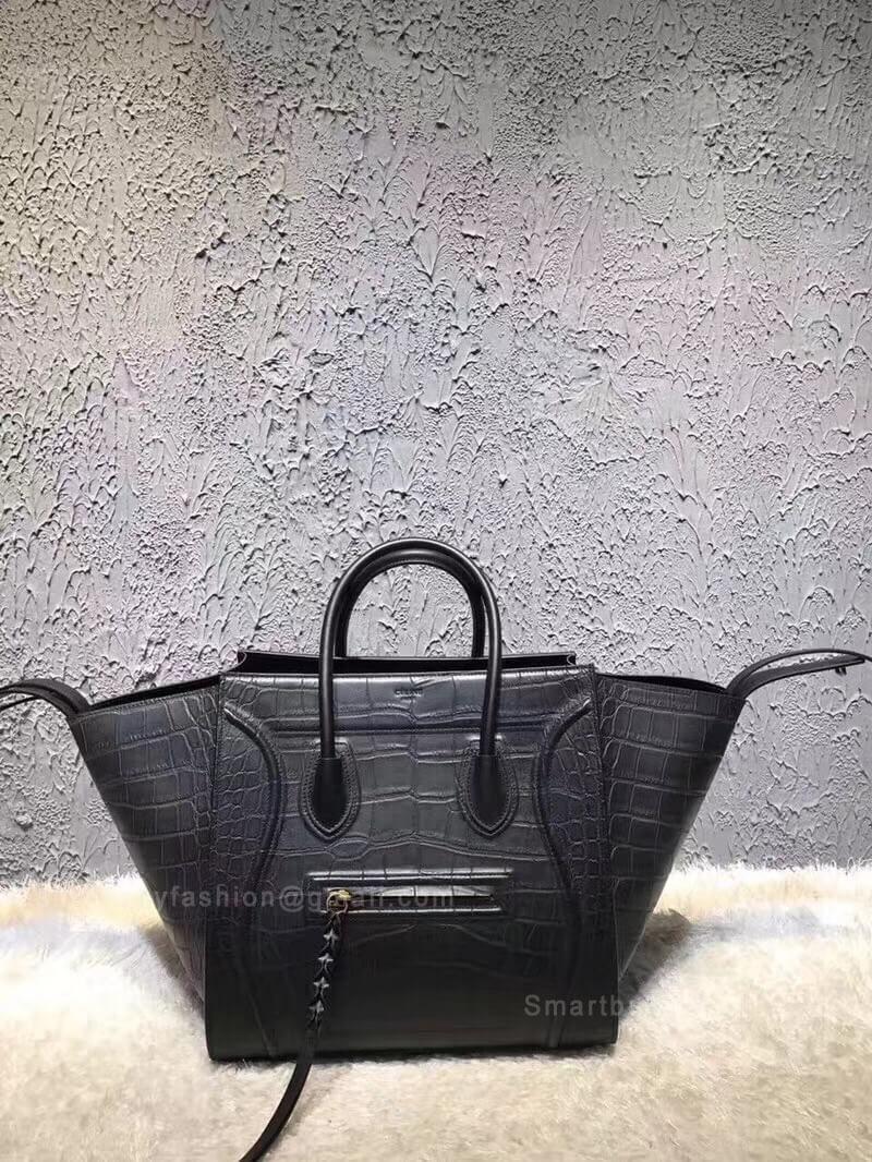 Celine Luggage Phantom Bag Medium in Black Croc Embossed Leather 6932ba3d480d7