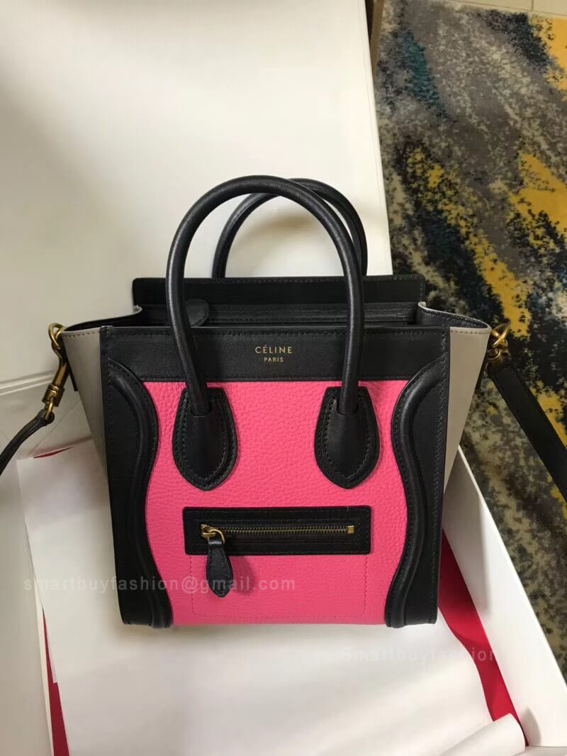 Celine Nano Luggage Handbag in Pink Multicolour Calfskin 15aca26e34038
