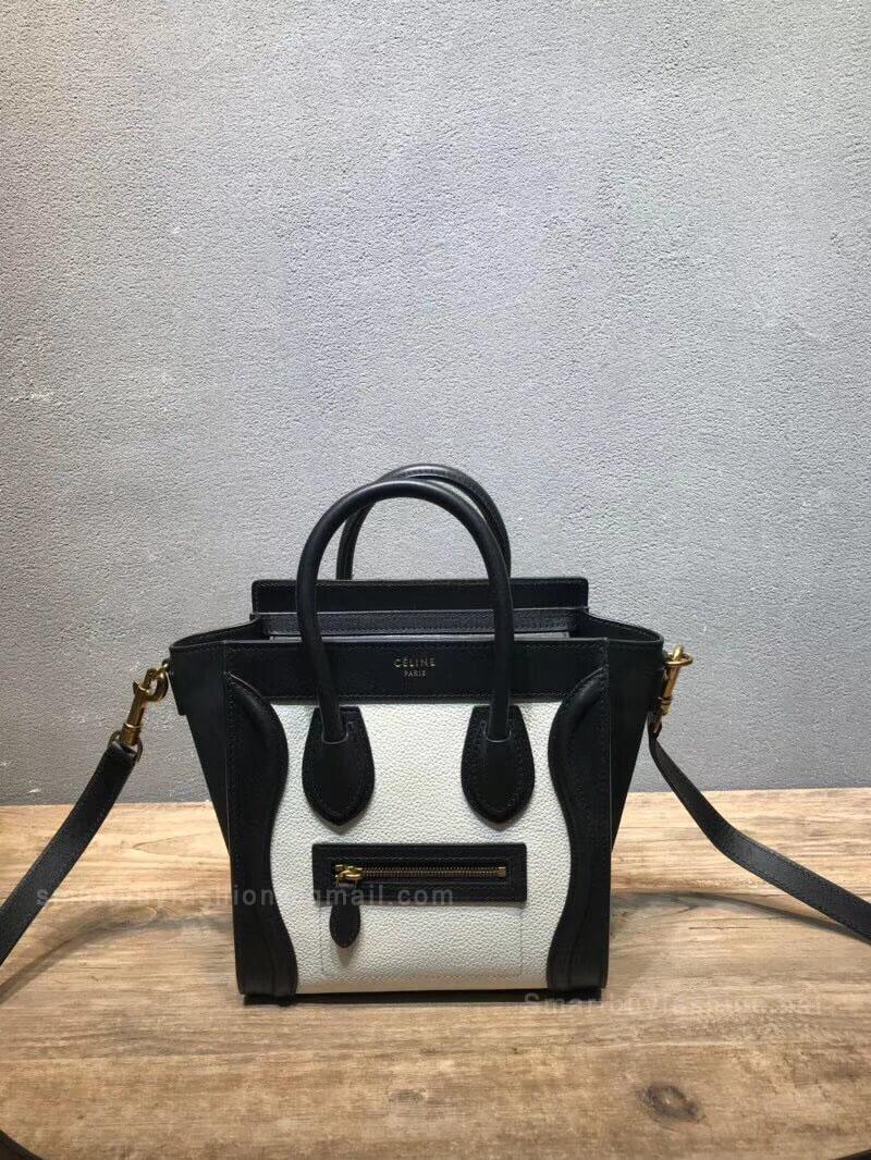 e5b7767a3 Celine Nano Luggage Handbag in Black and White Calfskin