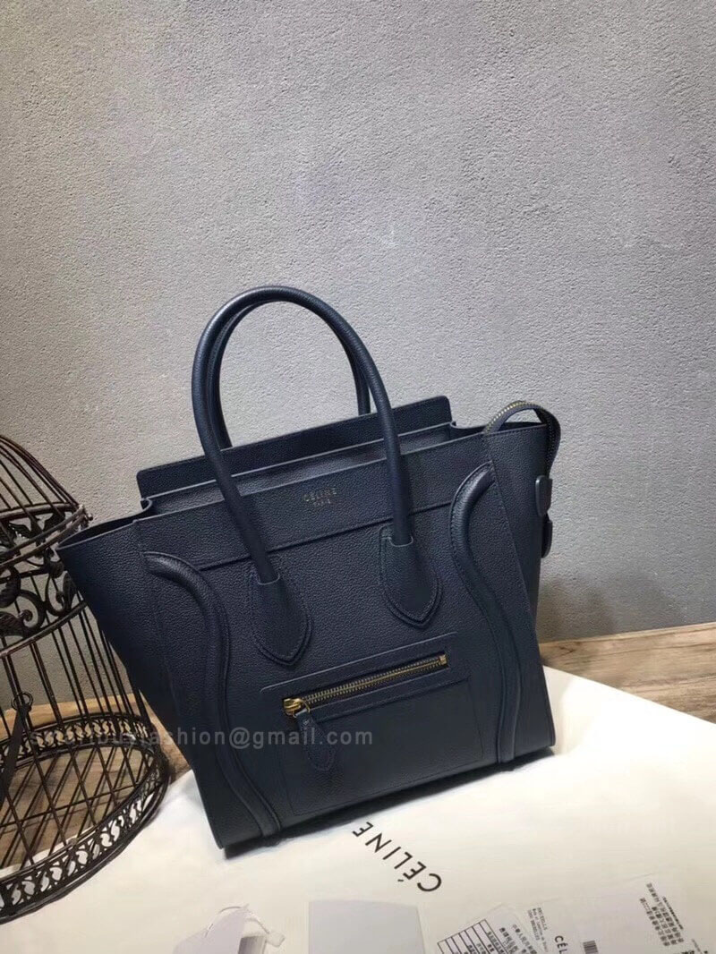 2195f722d372 Celine Micro Luggage Handbag in Navy Drummed Calfskin