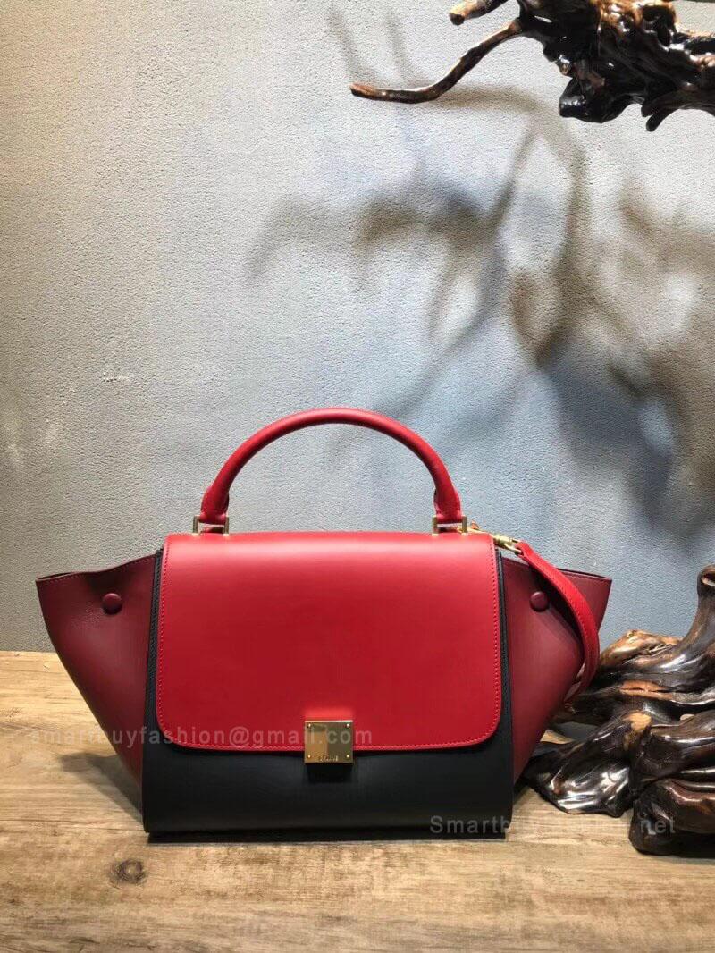 Celine Small Trapeze Bag in Red Multicolour Calfskin 7b92c2067c209