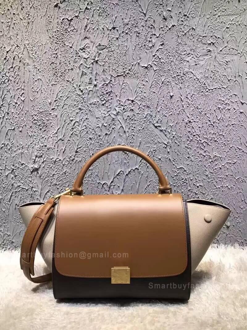 Celine Small Trapeze Bag in Tan Multicolour Calfskin c703e08989946