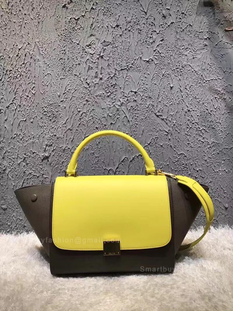 Celine Small Trapeze Bag in Yellow Multicolour Calfskin a7b50534fbb47