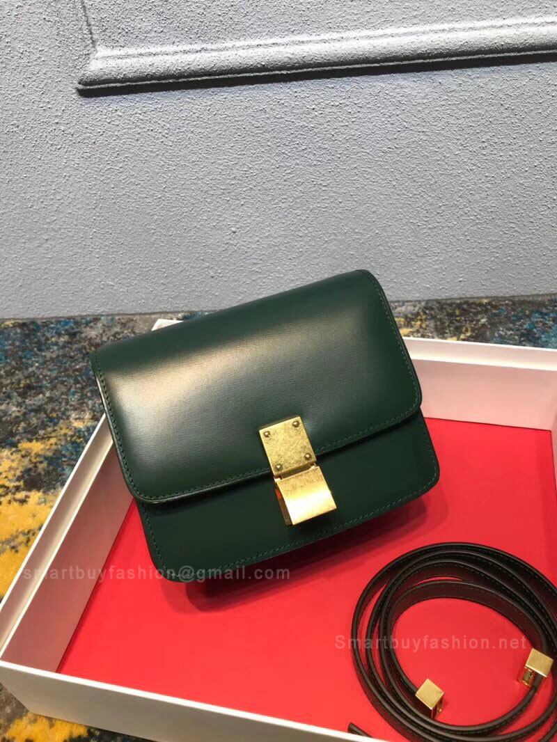 77330b3a6960 Celine Classic Box Bag Small in Green Liege Calfskin