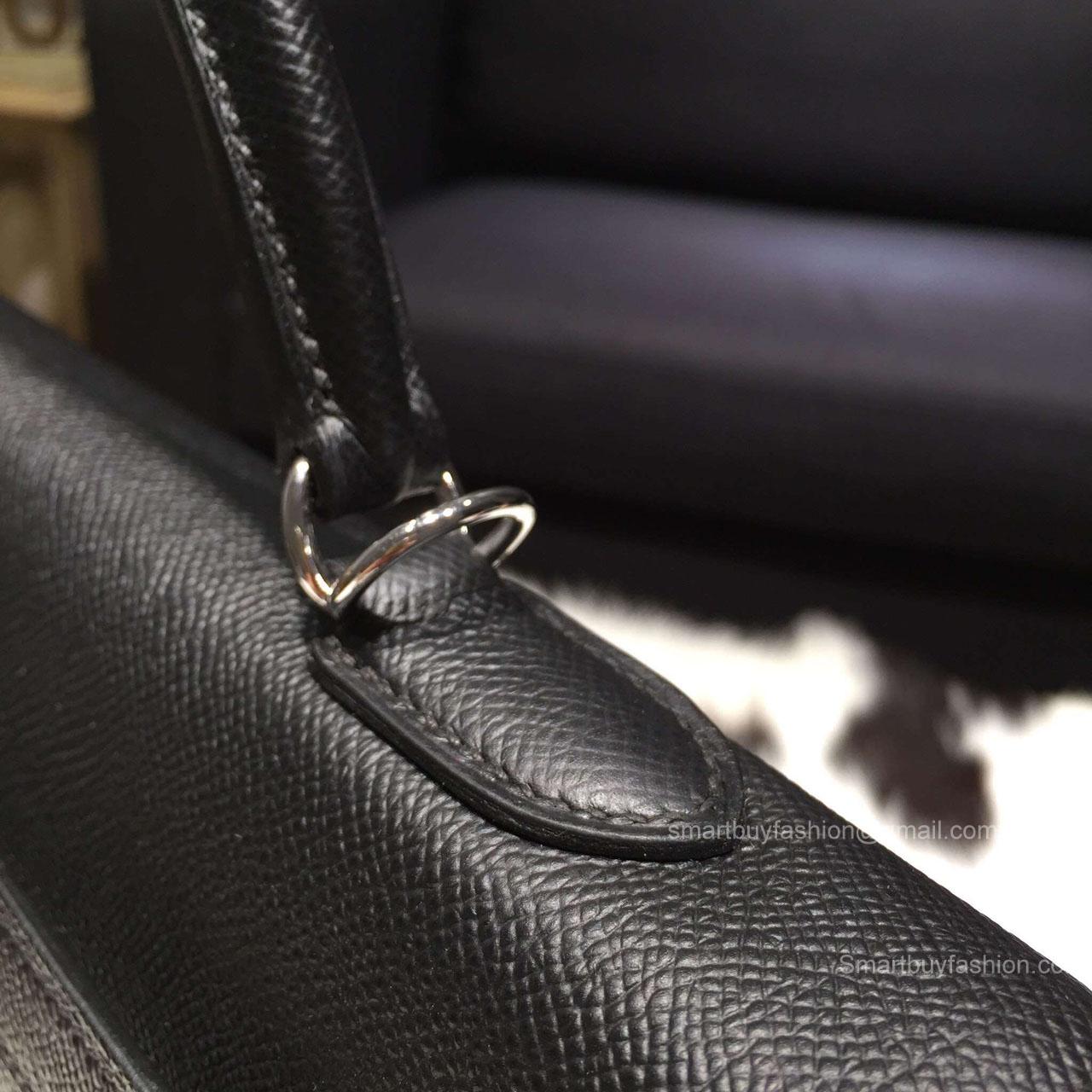 31bfa454b984 ... Hermes Kelly 35 Bag Black Epsom Leather Handstitched Silver hw ...