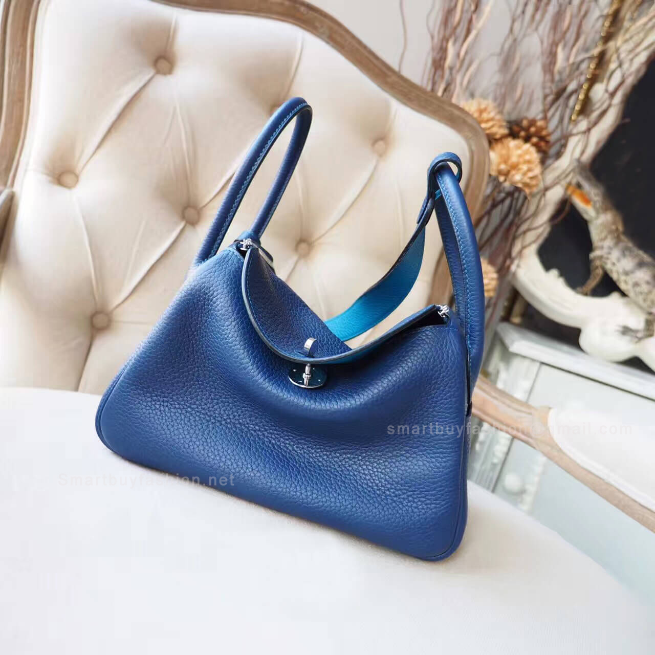 9cd3d94930bf Hermes Lindy 26 Bag in Bicolored ck73 Blue Saphir Clemence PHW