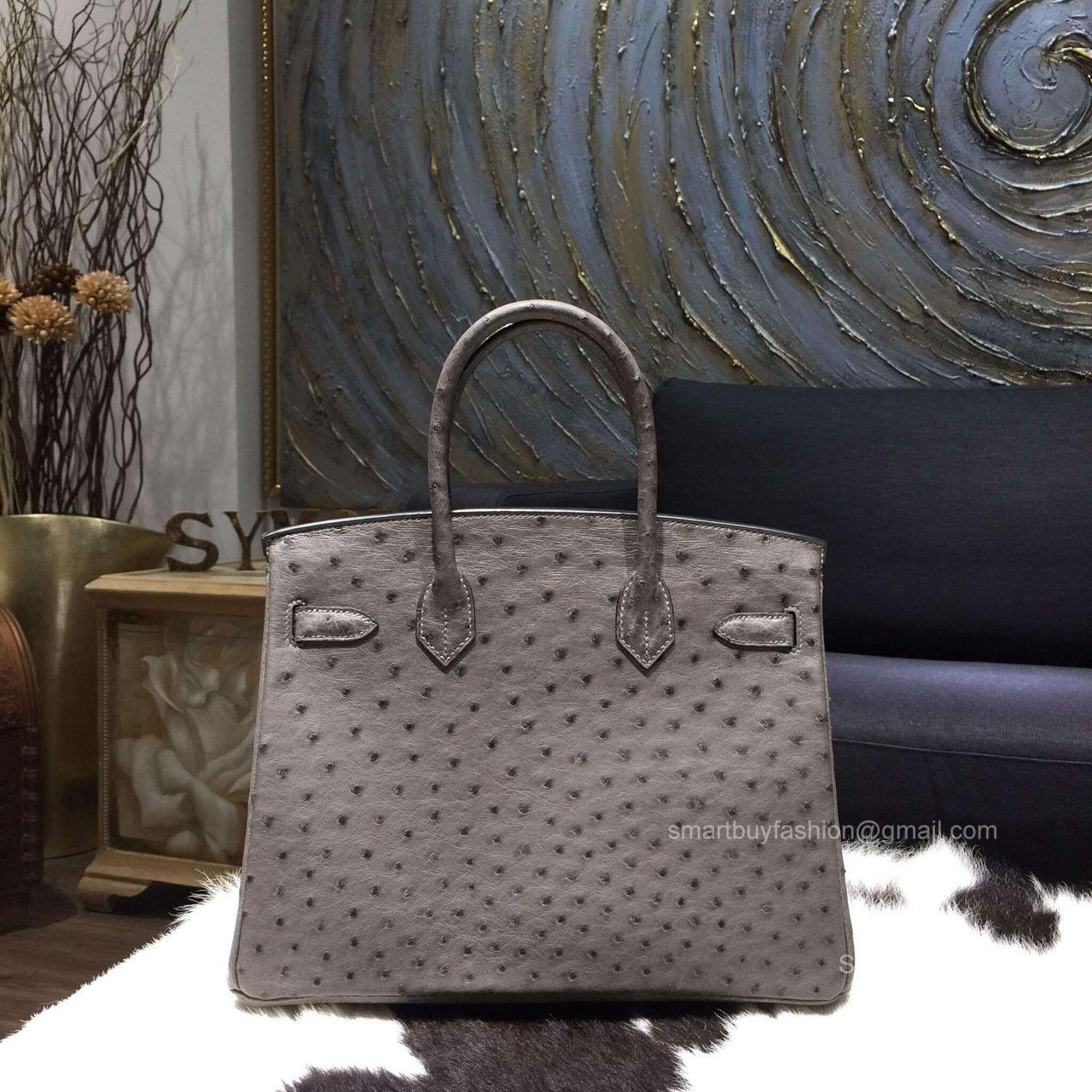 Hermes Birkin 35 Bag Mousse Gray Ostrich Leather Handstitched Gold hw - 2fa65d1204328