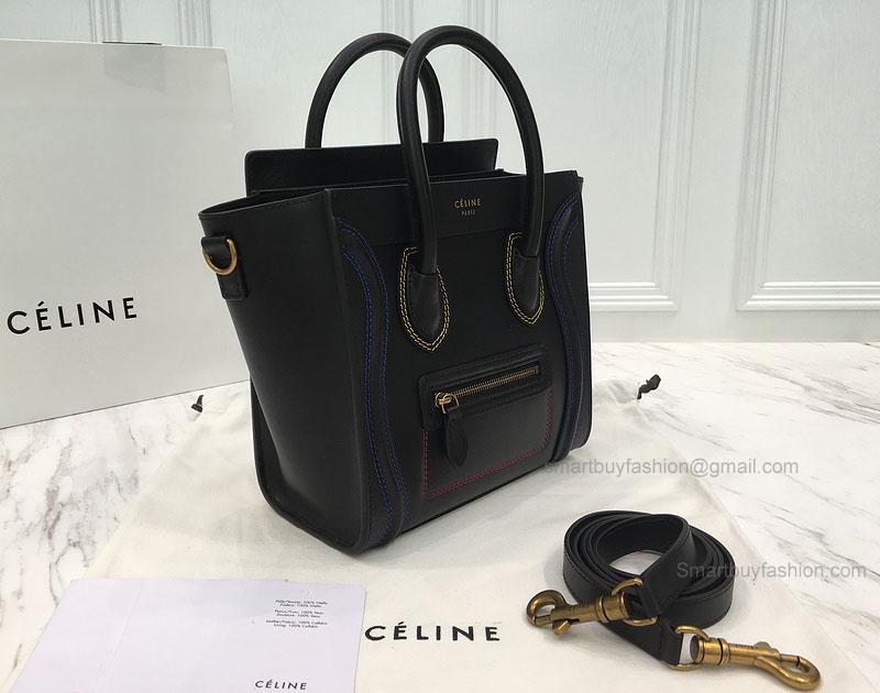 58c126b1fd RéPLIQUE CéLINE NANO LUGGAGE BAG WITH MULTICOLOUR DOUBLE STITCHING BLACK   397.00