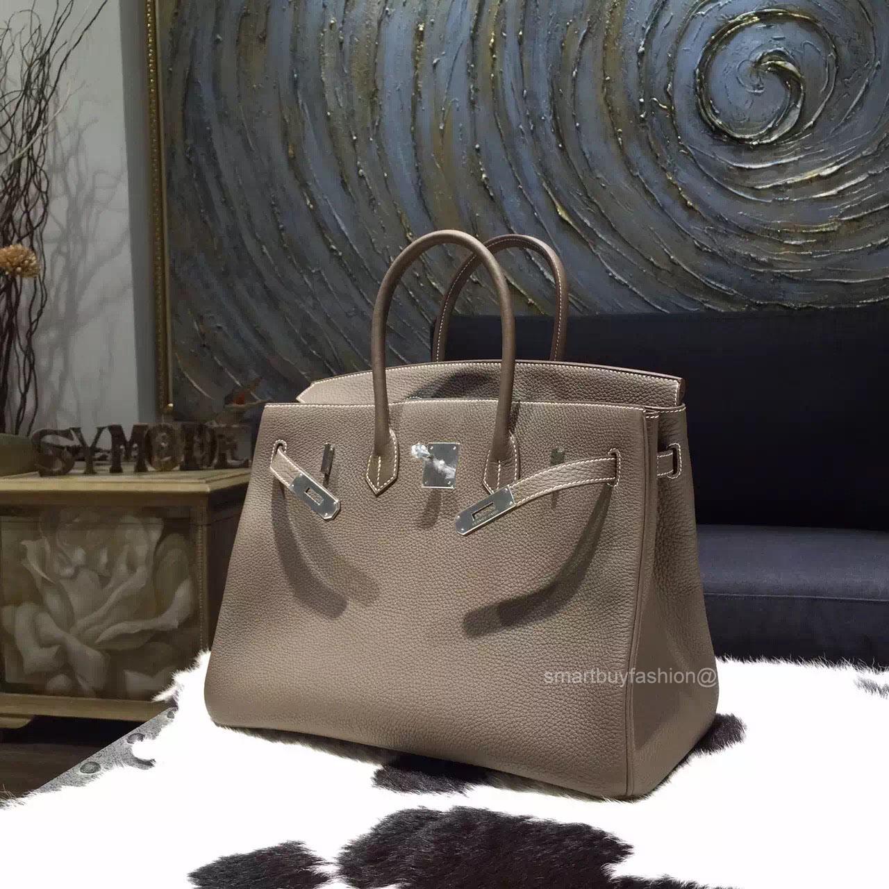 bc81fdab2a9d Hermes Birkin 35 cm Togo Bag Etoupe CK18 Handstitched Silver Hw -