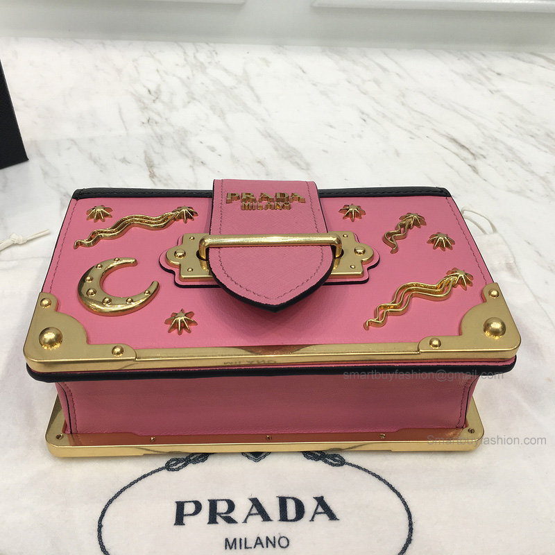 ad6095049d92 PRADA SMALL VELVET ASTROLOGY CAHIER BAG IN PINK AND BLACK CALF LEATHER   387.00