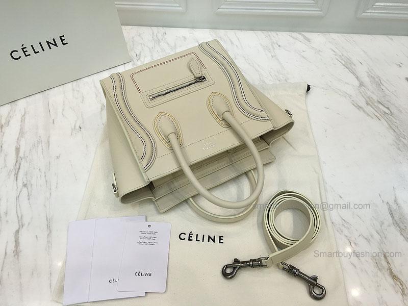 06bbac0941 RéPLIQUE CéLINE NANO LUGGAGE BAG WITH MULTICOLOUR DOUBLE STITCHING CREAM   397.00