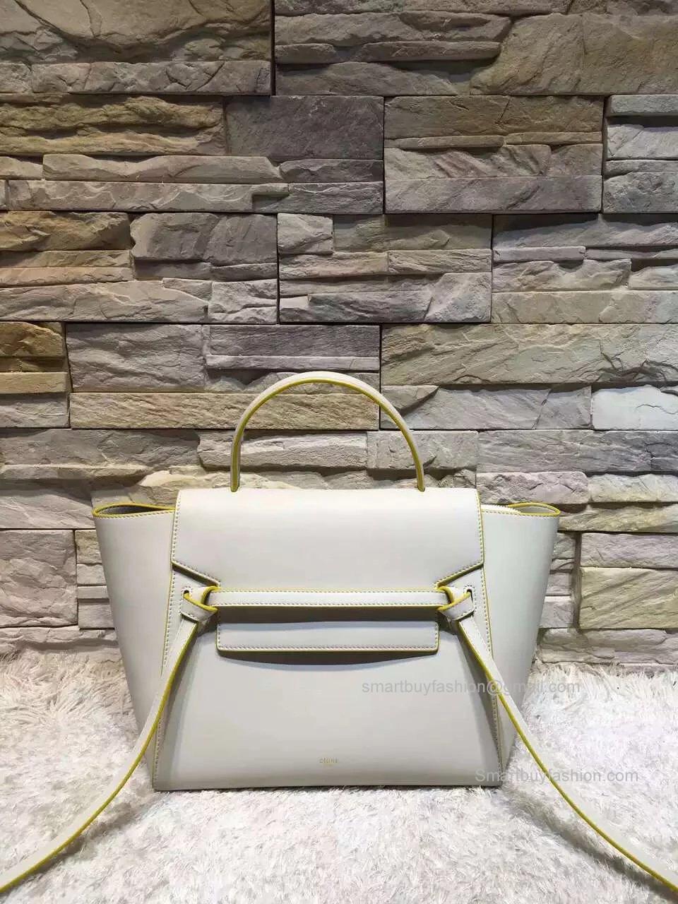 55798e7bd67b Replica Celine Mini Belt Bag in White Calfskin ...