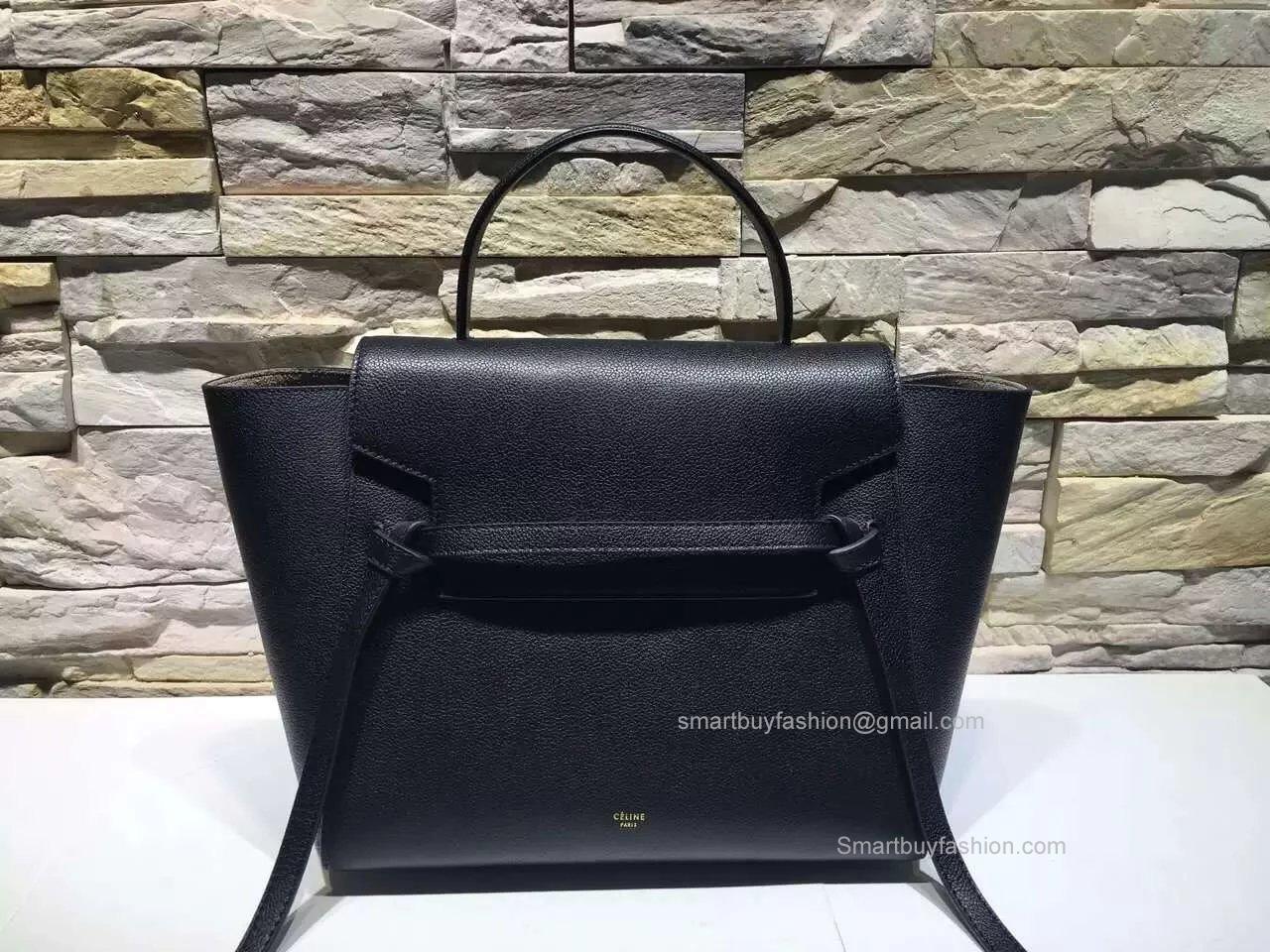 3bb40fe10150 Replica Celine Mini Belt Bag in Black Baby Grained Leather ...