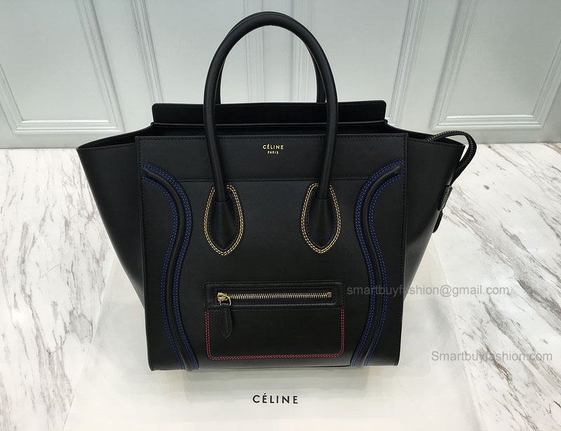 2e0e380727c8 ... Réplique Céline Mini Luggage Bag with Multicolour Double Stitching in  Black Calfskin