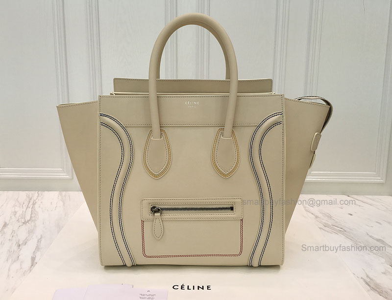 ca1704b6ec Réplique Céline Mini Luggage Bag with Multicolour Double Stitching in Cream  Calfskin ...