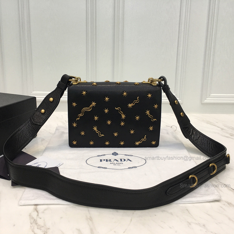 be62d1e2248f ... australia replica prada small astrology cahier bag in black grained  leather 4174b 6e943 ...